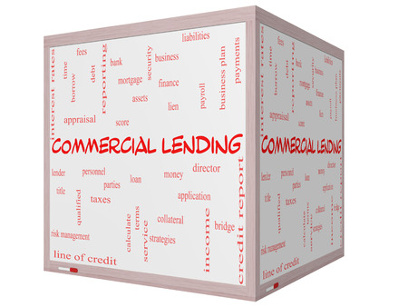 Commercial Lending Word Cloud Concept on a 3D cube Whiteboard with great terms such as loan, fees, business plan and more. photo