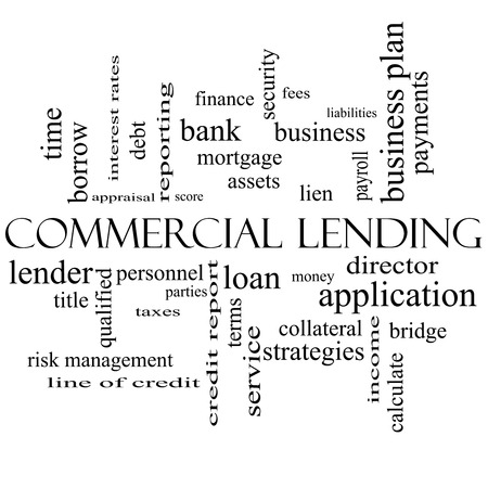Commercial Lending Word Cloud Concept in black and white with great terms such as loan, fees, business plan and more.