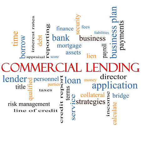 Commercial Lending Word Cloud Concept with great terms such as loan, fees, business plan and more. Stock Photo