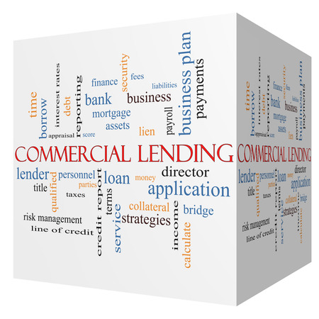 fees: Commercial Lending 3D cube Word Cloud Concept with great terms such as loan, fees, business plan and more. Stock Photo