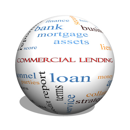 Commercial Lending 3D sphere Word Cloud Concept with great terms such as loan, fees, business plan and more. photo