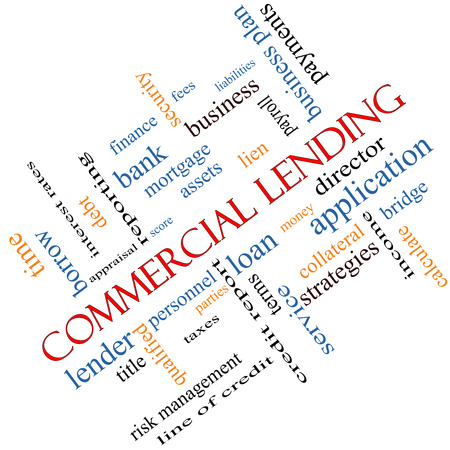 Commercial Lending Word Cloud Concept angled with great terms such as loan, fees, business plan and more. photo