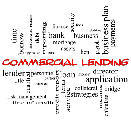 Commercial Lending Word Cloud Concept in red caps with great terms such as loan, fees, business plan and more.