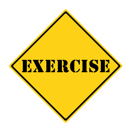 A yellow and black diamond shaped road sign with the word EXERCISE making a great concept for the new government retirement option.