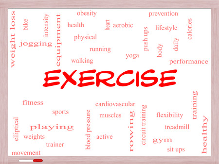 Exercise Word Cloud Concept on a Whiteboard with great terms such as active, fitness, running and more.