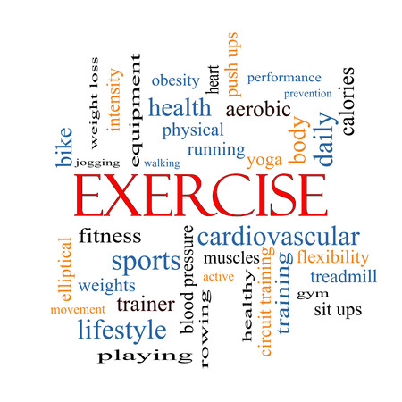 Exercise Word Cloud Concept with great terms such as active, fitness, running and more. photo