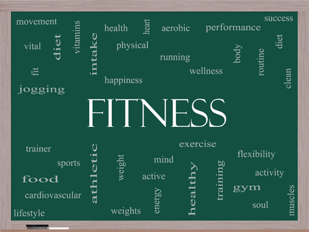 Fitness Word Cloud Concept on a Blackboard with great terms such as wellness, exercise, gym and more.