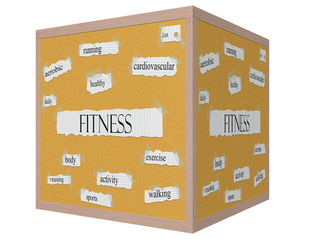 Fitness 3D cube Corkboard Word Concept with great terms such as aerobic, daily, diet and more.