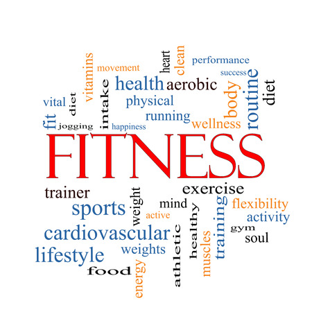 Fitness Word Cloud Concept with great terms such as wellness, exercise, gym and more. photo