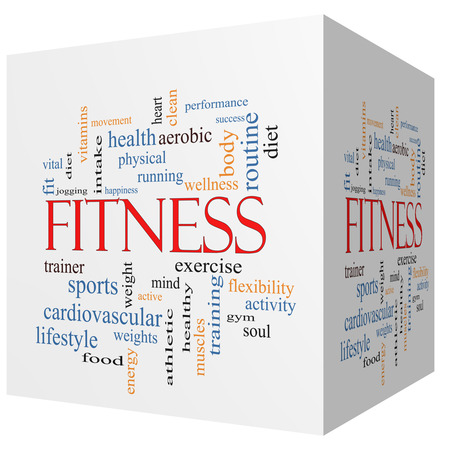 mind body: Fitness 3D cube Word Cloud Concept with great terms such as wellness, exercise, gym and more.