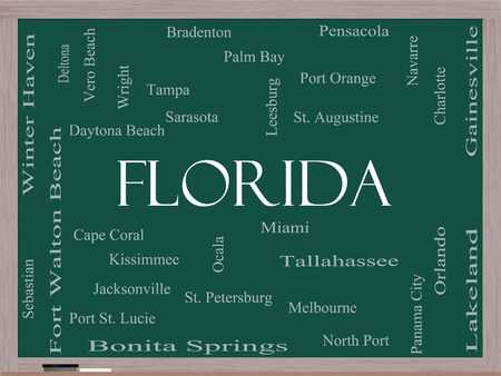 Florida State Word Cloud Concept on a Blackboard with about the 30 largest cities in the state such as Miami, Jacksonville, Tampa and more. photo