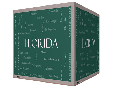 Florida State Word Cloud Concept on a 3D cube Blackboard with about the 30 largest cities in the state such as Miami, Jacksonville, Tampa and more. photo