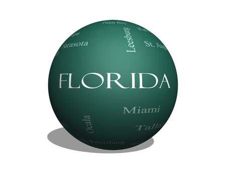 panama city beach: Florida State Word Cloud Concept on a 3D sphere Blackboard with about the 30 largest cities in the state such as Miami, Jacksonville, Tampa and more. Stock Photo