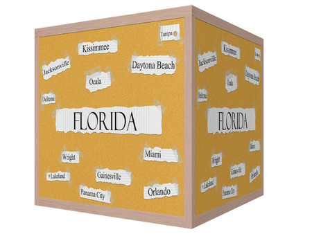 Florida State 3D cube Corkboard Word Concept with great cities listed such as Miami, Orlando, Tampa and more.