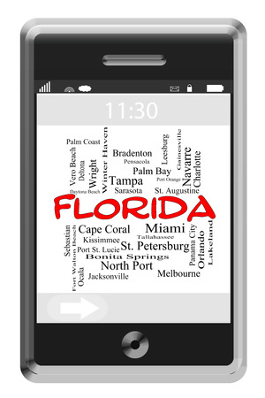 Florida State Word Cloud Concept of Touchscreen Phone with cities listed such as Orlando, Tampa, Miami and more. photo