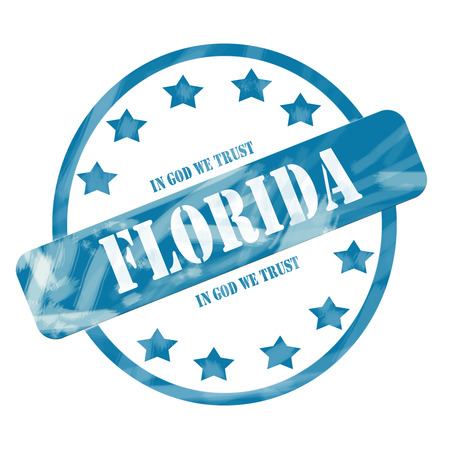 in god we trust: A blue ink weathered roughed up circle and stars stamp design with the word FLORIDA with the state motto of IN GOD WE TRUST on it making a great concept.