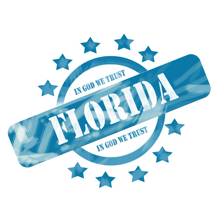 A blue ink weathered roughed up circle and stars stamp design with the word FLORIDA with the state motto of IN GOD WE TRUST on it making a great concept. photo