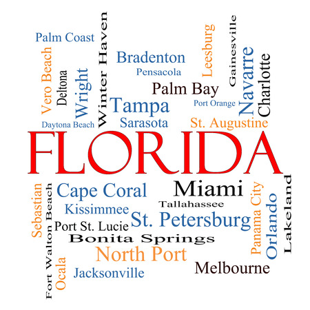 Florida State Word Cloud Concept with about the 30 largest cities in the state such as Miami, Jacksonville, Tampa and more. photo