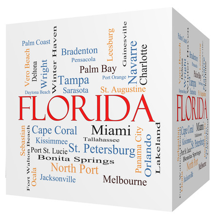 Tallahassee: Florida State 3D cube Word Cloud Concept with about the 30 largest cities in the state such as Miami, Jacksonville, Tampa and more.