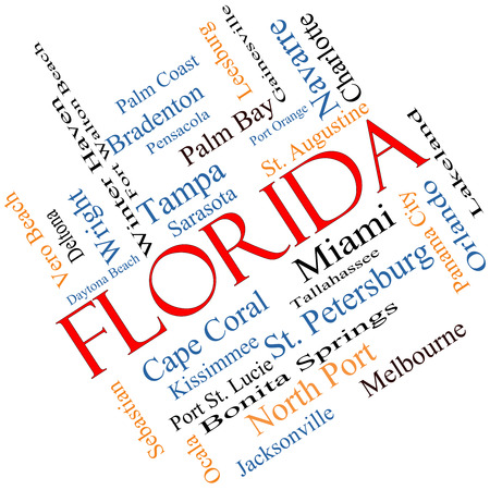Florida State Word Cloud Concept angled with about the 30 largest cities in the state such as Miami, Jacksonville, Tampa and more. photo