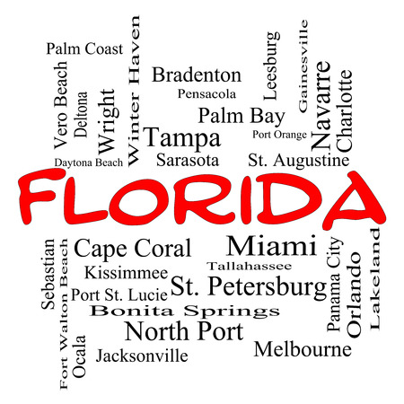 panama city beach: Florida State Word Cloud Concept in red caps with about the 30 largest cities in the state such as Miami, Jacksonville, Tampa and more.