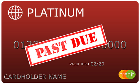 cardholder: An imitation Platinum red Credit Card with a Past Due sticker over the numbers making a great concept.
