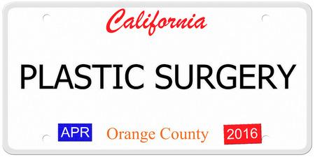 Een imitatie van Californië kenteken met de woorden PLASTISCHE CHIRURGIE, samen met Orange County en april 2016 het maken van een geweldig concept. Stockfoto