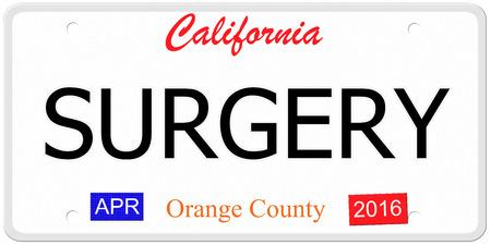 Een imitatie van Californië kenteken met de woorden CHIRURGIE samen met Orange County en april 2016 het maken van een geweldig concept.