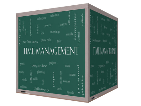 Time Management Word Cloud Concept on a 3D cube Blackboard with great terms such as daily, tasks, goals, organize and more.