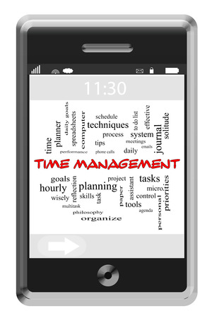 Time Management Word Cloud Concept of Touchscreen Phone with great terms such as tasks, personal, goals and more. Stock Photo - 25820508