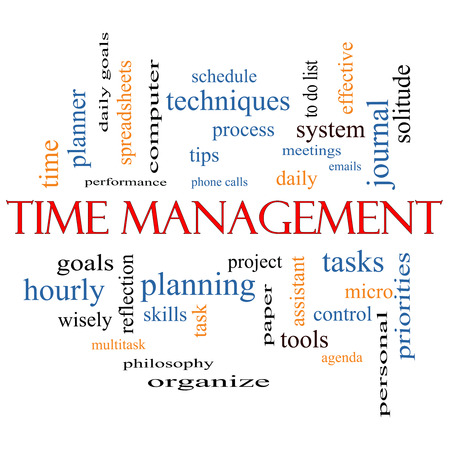 Time Management Word Cloud Concept with great terms such as daily, tasks, goals, organize and more. photo