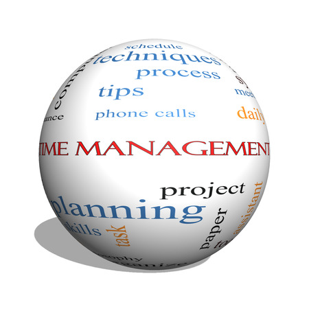 Time Management 3D sphere Word Cloud Concept with great terms such as daily, tasks, goals, organize and more.