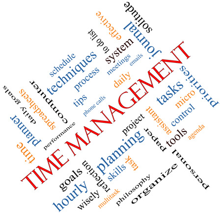 Time Management Word Cloud Concept angled with great terms such as daily, tasks, goals, organize and more. Standard-Bild