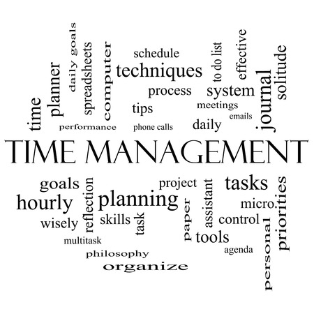 do: Time Management Word Cloud Concept in black and white with great terms such as daily, tasks, goals, organize and more. Stock Photo