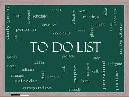 To Do List Word Cloud Concept on a Blackboard with great terms such as tasks, projects, check box and more. Banco de Imagens
