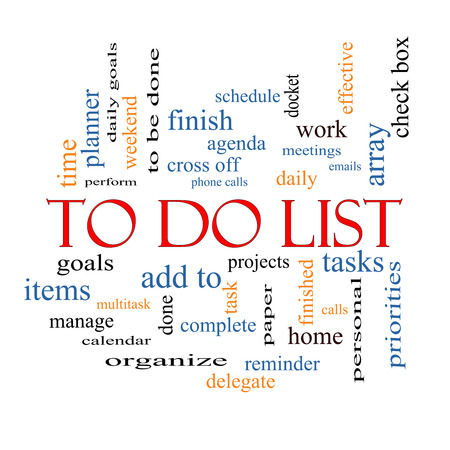 To Do List Word Cloud Concept with great terms such as tasks, projects, check box and more. Stock Photo