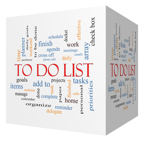 To Do List 3D cube Word Cloud Concept with great terms such as tasks, projects, check box and more. Stock Photo
