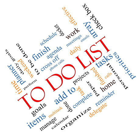 To Do List Word Cloud Concept angled with great terms such as tasks, projects, check box and more. photo
