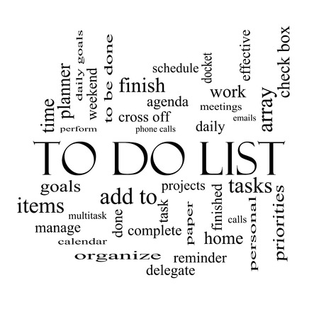 To Do List Word Cloud Concept in black and white with great terms such as tasks, projects, check box and more.