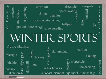 moguls: Winter Sports Word Cloud Concept on a Blackboard with great terms such as curling, skiing, snowboarding and more.