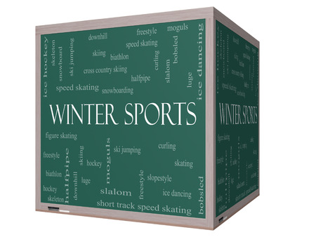 moguls: Winter Sports Word Cloud Concept on a 3D cube Blackboard with great terms such as curling, skiing, snowboarding and more.