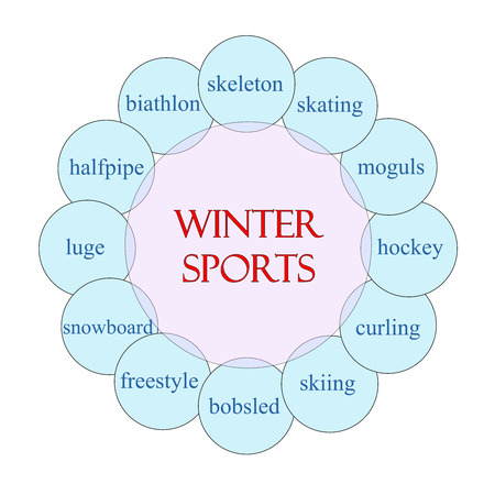 moguls: Winter Sports concept circular diagram in pink and blue with great terms such as skeleton, skating, hockey and more. Stock Photo