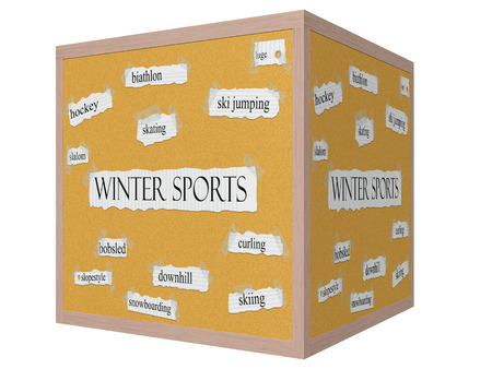 luge: Winter Sports 3D cube Corkboard Word Concept with great terms such as skating, luge, slalom and more.