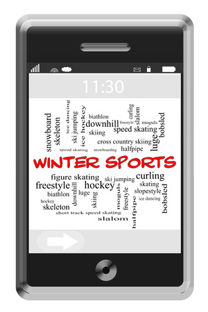 moguls: Winter Sports Word Cloud Concept of Touchscreen Phone with great terms such as hockey, skating, skiing and more.