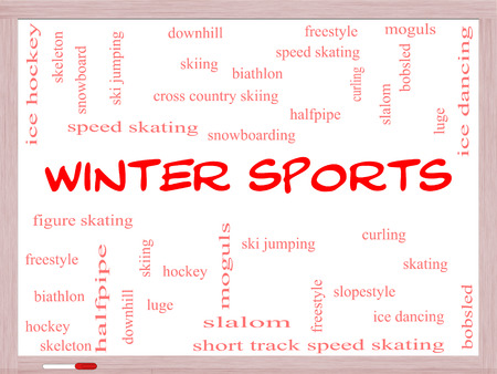moguls: Winter Sports Word Cloud Concept on a Whiteboard with great terms such as curling, skiing, snowboarding and more.