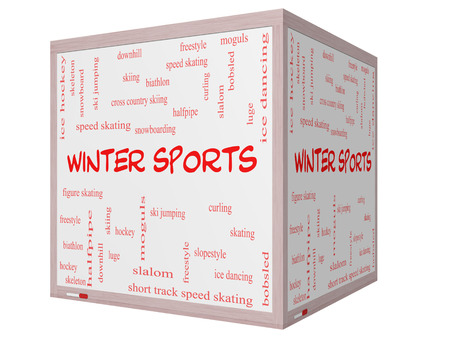 moguls: Winter Sports Word Cloud Concept on a 3D cube Whiteboard with great terms such as curling, skiing, snowboarding and more.