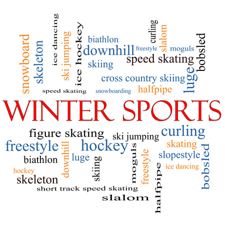 moguls: Winter Sports Word Cloud Concept with great terms such as curling, skiing, snowboarding and more.