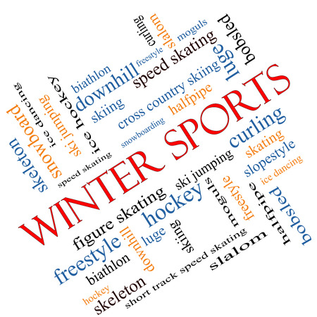 moguls: Winter Sports Word Cloud Concept angled with great terms such as curling, skiing, snowboarding and more. Stock Photo