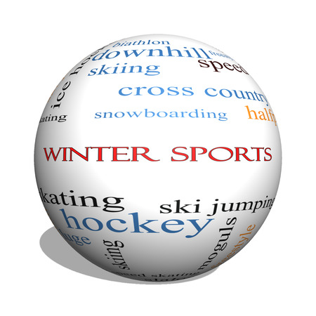moguls: Winter Sports 3D sphere Word Cloud Concept with great terms such as curling, skiing, snowboarding and more.