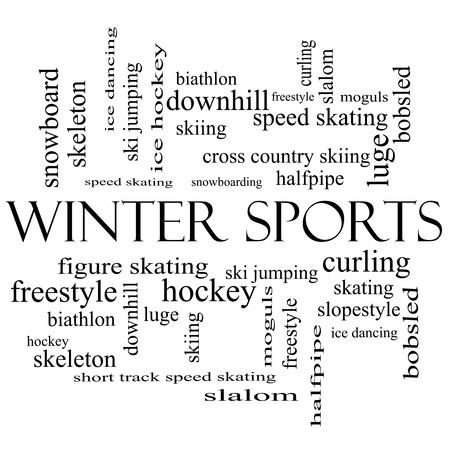moguls: Winter Sports Word Cloud Concept in black and white with great terms such as curling, skiing, snowboarding and more. Stock Photo